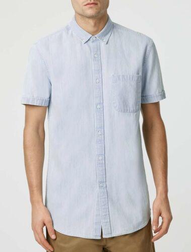 NUOVO 100/% Cotone da Uomo Camicia Maglia in Denim Topman manica Smart Casual BLEACH VINTAGE