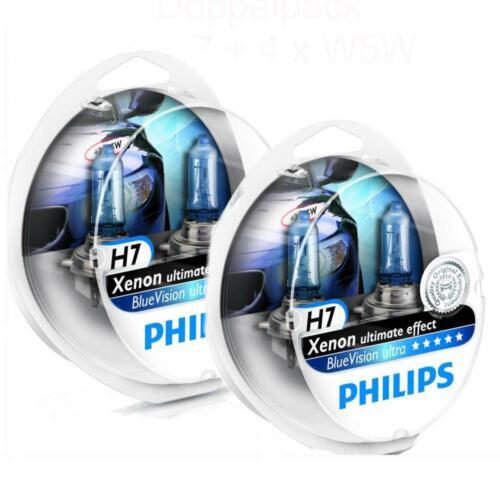 2x W5W BVU 12972BVUS 2 x Philips BlueVision DUO ultra 2x H7 4000k Xenon Effekt