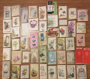 Lot-of-50-Vintage-Greeting-Cards-Used-Get-Well-1960-039-s-die-cut-embossed-ephemera