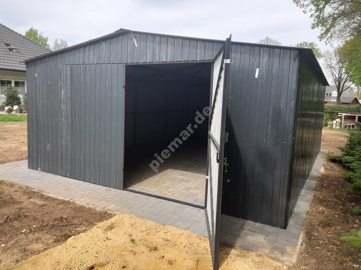 Blechgarage 5x5 m in Ral7016  Schuppe Garage KFZ Lager Garage  NEU mit Aufbau