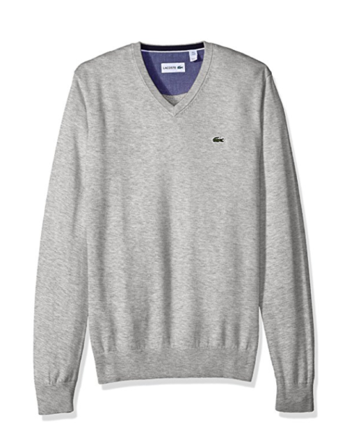 9a66f51244d0 Lacoste Men 100 Cotton V Neck Sweater Pullover Silver Grey XXL 2xl ...