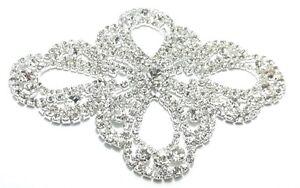 1 Applicazione Strass cm 11-10x8-6 Crystal-Silver Art. A1166 XSTFjIah-08065248-449274924