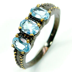 Fashion-Women-Jewelry-Gift-Natural-Blue-Topaz-925-Sterling-Silver-Ring-RVS277