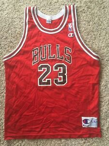 separation shoes 27714 af4fb Details about Red Vtg 90s Champion Michael Jordan #23 Chicago Bulls Jersey  Mens 40 M Youth XL