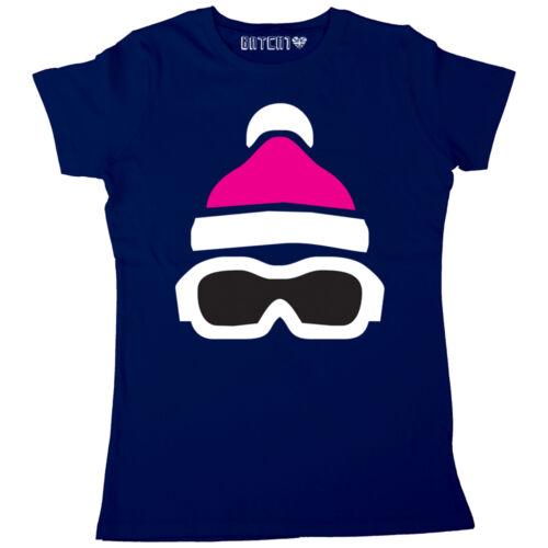 SKI GOGGLES /& HAT PRINT WOMENS WINTER SKI SNOWBOARD SEASON PRINTED T-SHIRT