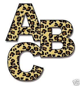 Leopard Print Alphabet Letter Wall Decals Personalize