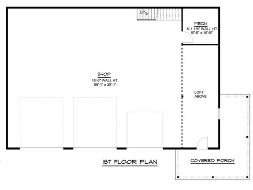 Large barn plans blueprints with loft storage and covered porch 2400 sf #1316