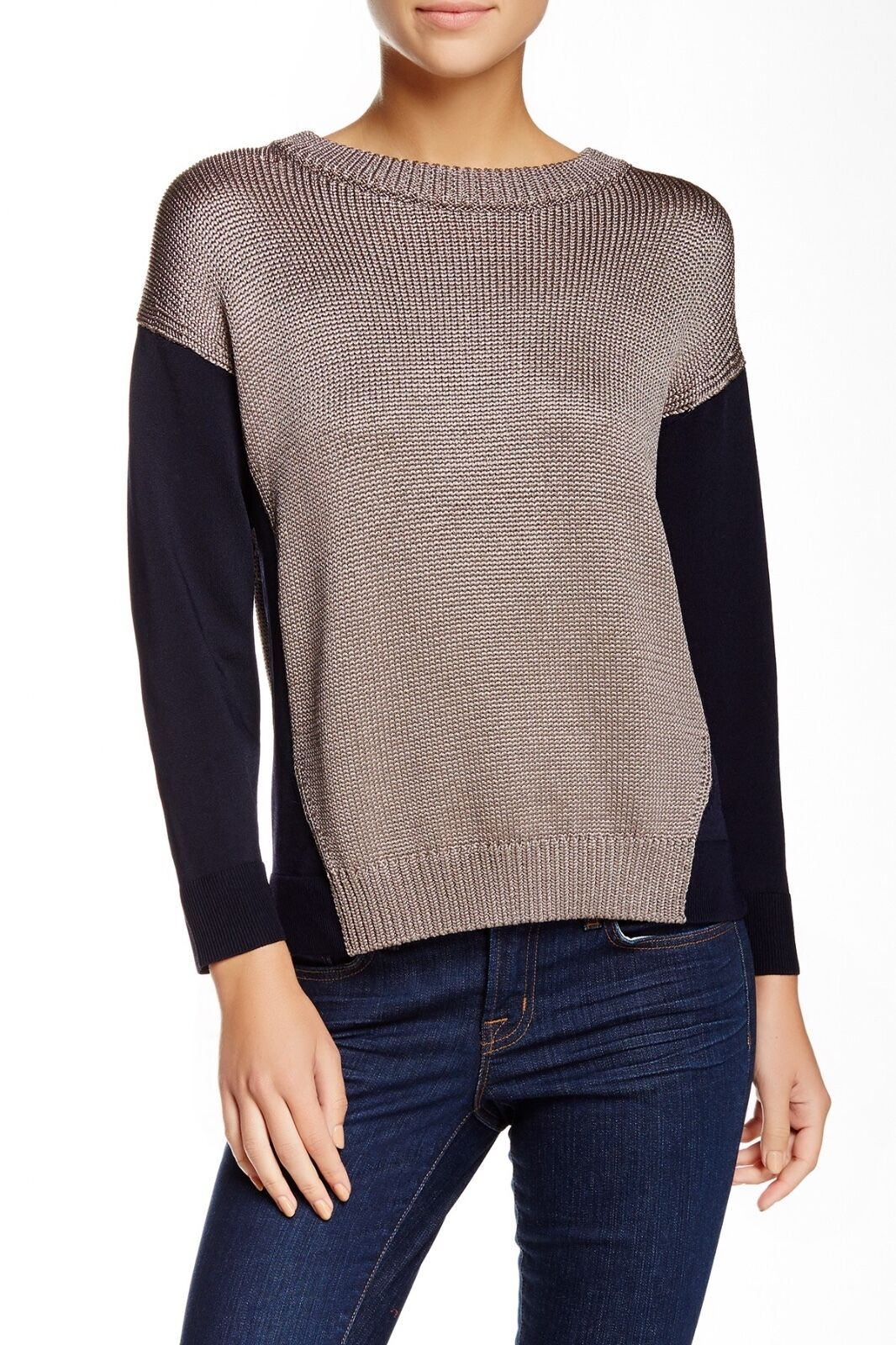 J BRAND Kira Beige Navy bluee Sweater Flowy TITAN  DUKE NEW DEFECT
