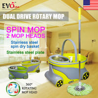 360 Degree Spinning Mop Wheels Stainless Steel Spin-dry Bucket W/2 Mop Heads