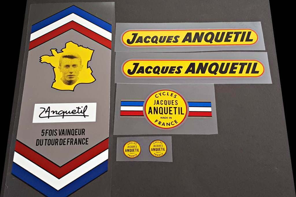 Jacques Anquetil Bicycle Chrome Decal Set