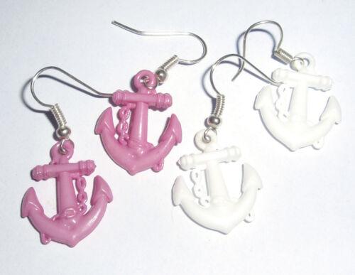 Kitsch Kawaii 3d anchor Charm Earrings Fancy Dress Pink /& White 2 pairs