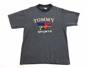 Tommy-Hilfiger-Sports-Red-Blue-Logo-Mens-T-Shirt-gray-Tee-Shirt-sz-M