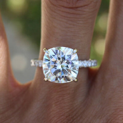 2.25Ct White Round Cushion cut Moissanite Engagement Ring 14K White Gold Over