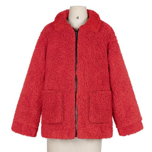 Womens Teddy Bear Short Coat Ladies Faux Fur Warm Zip Up Bomber Jacket Size 8-18