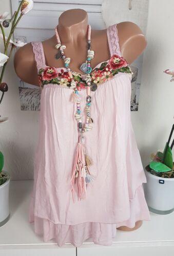 Tunika Bluse Shirt Top Ibiza Hippie Häkel rosa Blumen Flower  36 38