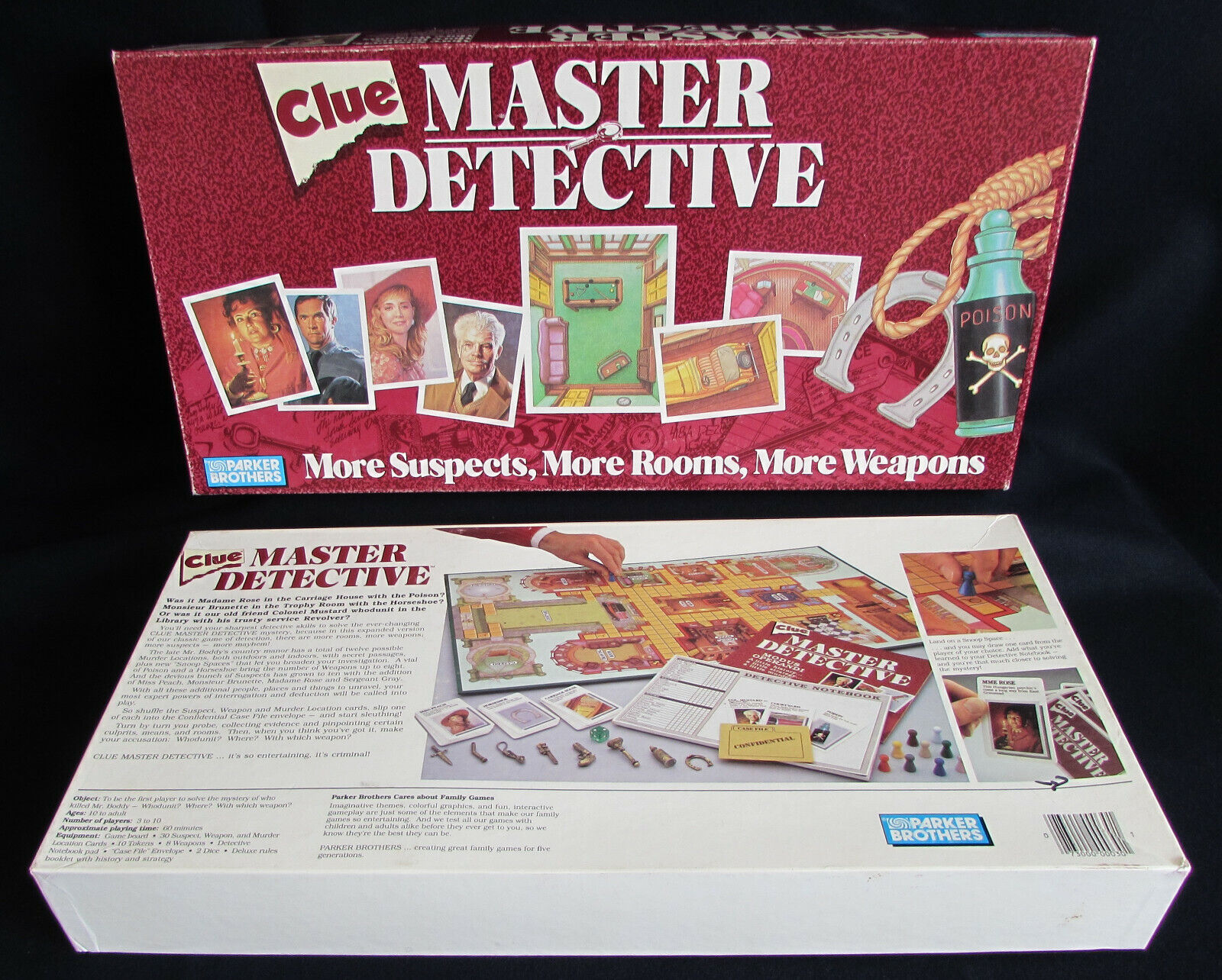 CLUE MASTER DETECTIVE MURDER MYSTERY BOARD GAME 1988 PARKER BROS 100% Complete
