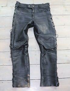 Men-039-s-Vintage-Zip-Fly-Lace-High-Waist-Black-100-Leather-Trousers-Jeans-W35-L31