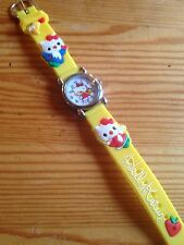 Kids Girls Hello Kitty Yellow Wrist Watch Analog Silicone Strap Steel Back