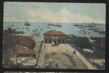 Postcard CEYLON INDIA  Harbor/Bay Shipping Scene Bird's Eye Aerial view 1910's