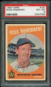 1959-Topps-BB-Card-191-Russ-Kemmerer-Washington-Senators-PSA-NM-MT-8