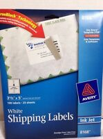 Lot Of 3 Avery 8168 Inkjet Shipping Labels, Permanent 3 1/2 X 5 100 Labels White