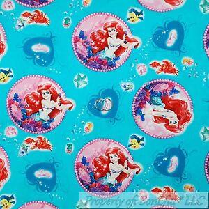 BonEful-Fabric-FQ-Cotton-Quilt-Aqua-Blue-Ariel-Princess-Little-Mermaid-Damask-Lg