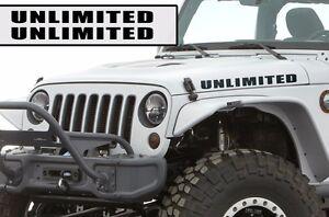 Universal-Custom-Jeep-Wrangler-Willy-Hood-Vinyl-Graphics-Decal-UNLIMITED-Black