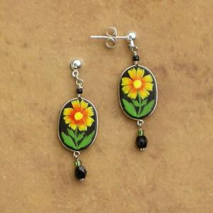 Hand Painted Beaded Earrings Blanket Flower Made In Peru Fair Trade Jewelry Ebay