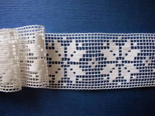 entredeux Dentelle ancienne AU METRE n°209 largeur 7.5 cm, coton blanc