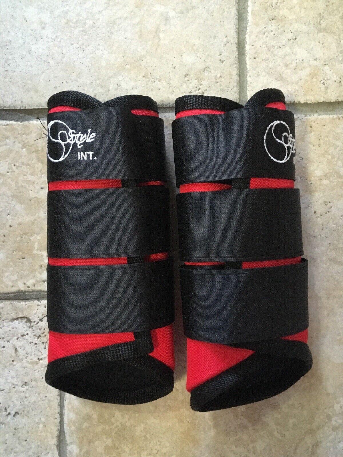 botas estilo cross country eventos en rojo tamaño Pony Espalda  Bnwt