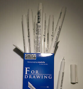 Black Fineliner Technical Pens. Pack of 6. Waterproof Ink 0.05mm to 1mm