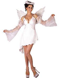 Femmes Déguisement D  Ange   Ailes Court Noël Blanc Costume Neuf 12 ... 6c7881231405