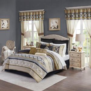 Luxurious-Black-Gold-Jacquard-24-pcs-Comforter-Sheets-Window-Cal-King-Queen-Set