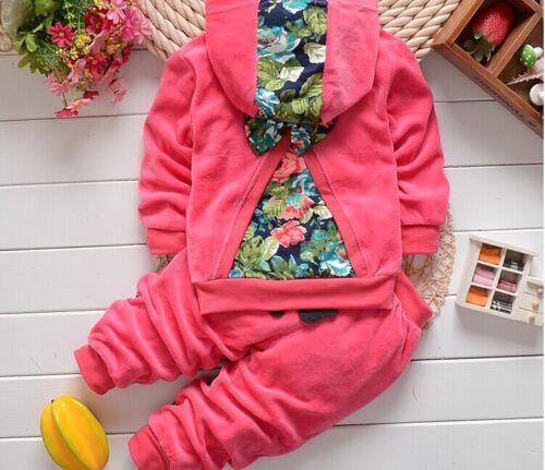 Pantaloni stampati abiti 100/% COTONE BAMBINI per neonate Bella Cartoon Cappotto Con Cappuccio