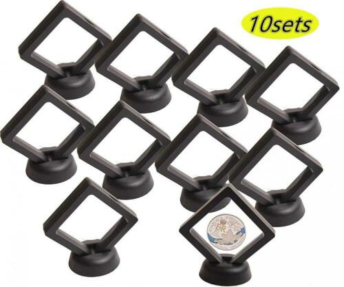 Coin Display Stand Set of 10 3D Floating Frame Holder with Stands...