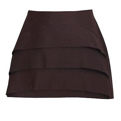 MUGLER $1585 tiered front vent SS13 purple wool silk runway skirt 44-F/12-US NEW