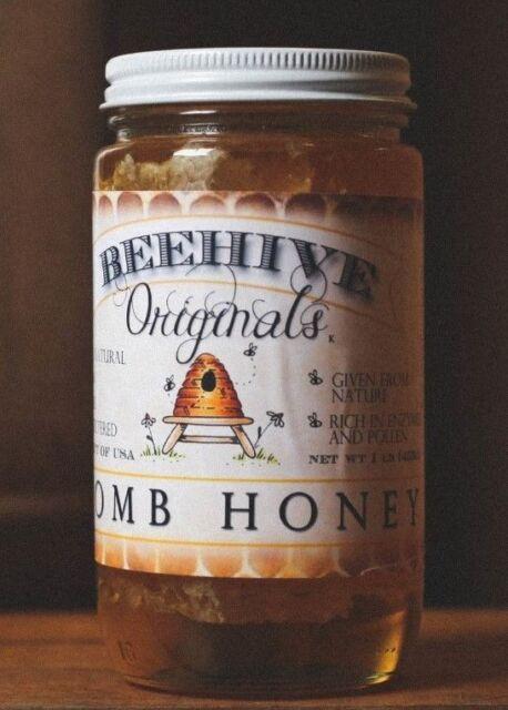 100 pure raw chunk honey comb in jar of raw honey 1 lb - 458×640