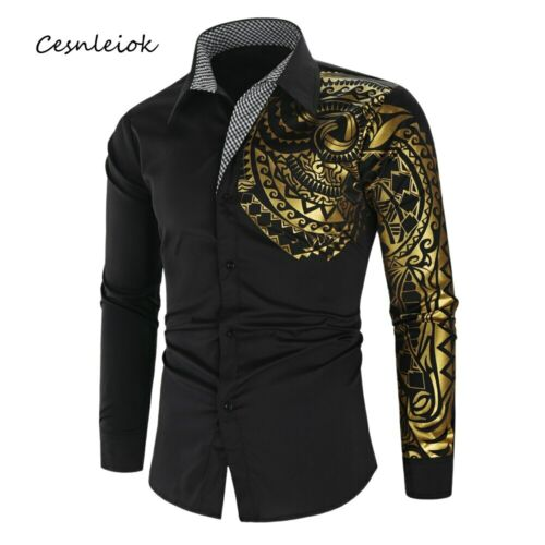 Camisa Para Hombre de Vestir Mangas Largas de Moda Hojas de Arbol Ropa Fina Slim