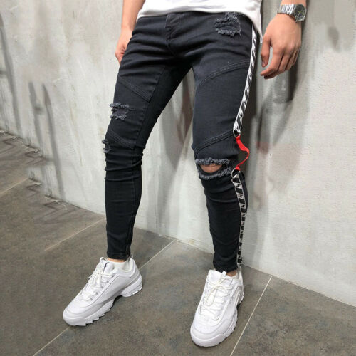 Men Fashion Skinny Knee Ripped Jeans Distressed Frayed Denim Pants Long Trousers