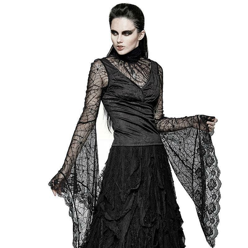 Gothic Spider Web Shirts Lace Long Sleeve