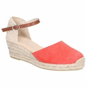 6e5b8e83659 Details about Hush Puppies Shoe Ladies Summer Maya Wedge Buckle Strap  Espadrille Red