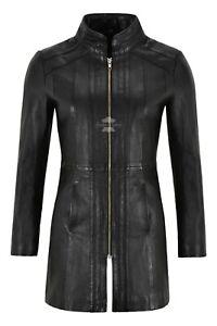 Ladies-Trench-Leather-Jacket-Black-Napa-Mid-Length-Coat-Classic-Long-Jacket-1021