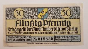 TAUBERBISCHOFSHEIM-NOTGELD-50-PFENNIG-1918-NOTGELDSCHEIN-Verkehrsausgabe-9173