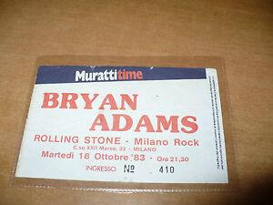 BIGLIETTO TICKET CONCERTO BRYAN ADAMS ROLLING STONE MILANO ROCK 18 OTTOBRE 1983