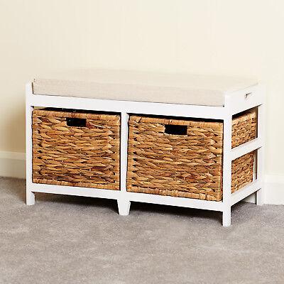 Storage Bench Cushion Seat Amp Seagrass Wicker Baskets