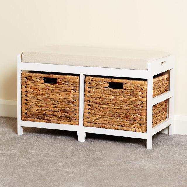 Bench 2 Drawer Seagr Wicker Storage Baskets Bath Hallway Decor Furniture