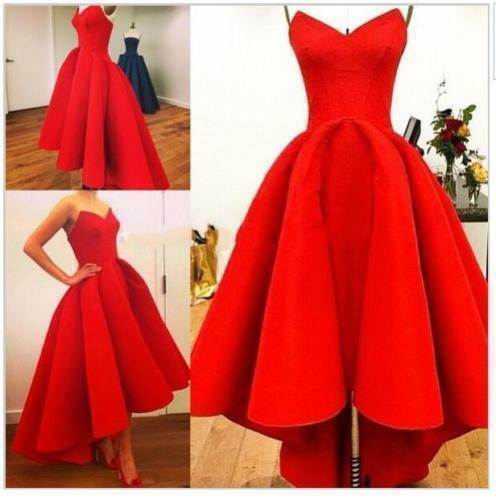 High Low Red Party Prom Dresses Satin 1950s Formal Wedding Bridesmaid Gown