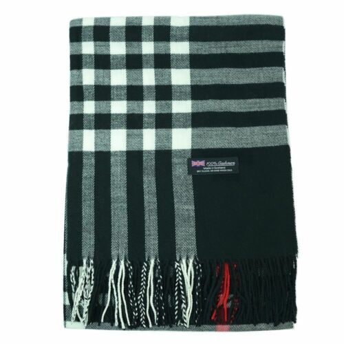 Mens Womens unisex 100/% CASHMERE Thick Shawl Blanket Tartan Stripe Plaid Scarf