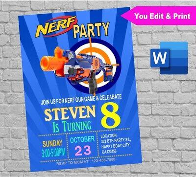 Printable Nerf Wars Invitation YOU EDIT//PRINT Digital Invite PDF /& JPG in Corjl