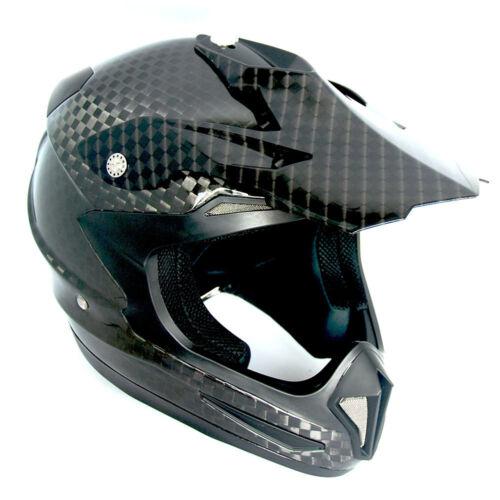 NEW Genuine Real Carbon Fiber 1Storm Motocross Helmet ATV Dirt Bike MX BMX Black